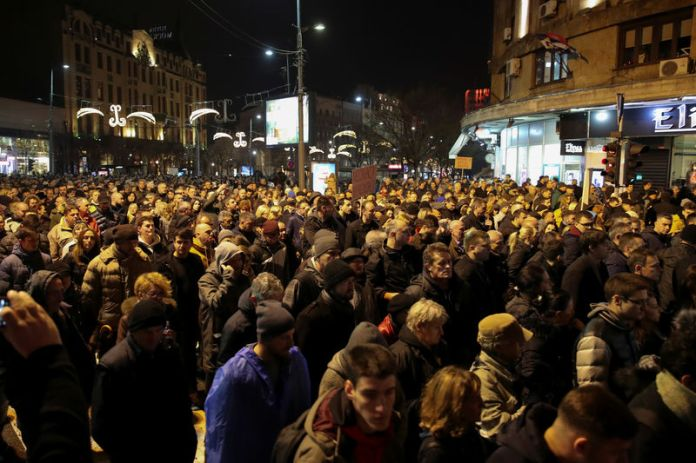 © Reuters. Anti-government protest in Belgrade