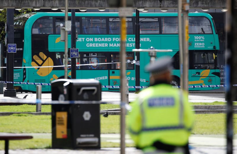 © Reuters. Suspect package found on a bus in Manchester city centre