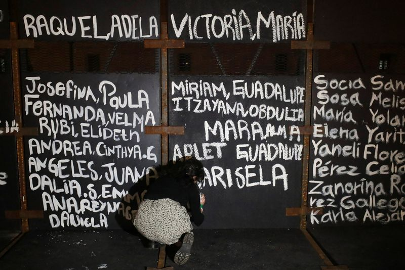 Feminist activists paint barriers with names of victims in Mexico