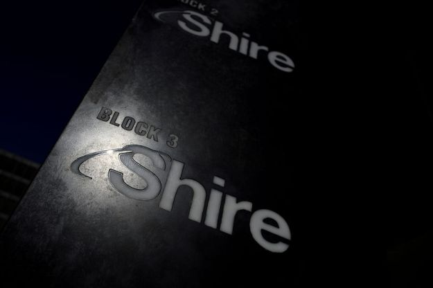 © Reuters. FILE PHOTO: Shire branding is seen outside their offices in Dublin