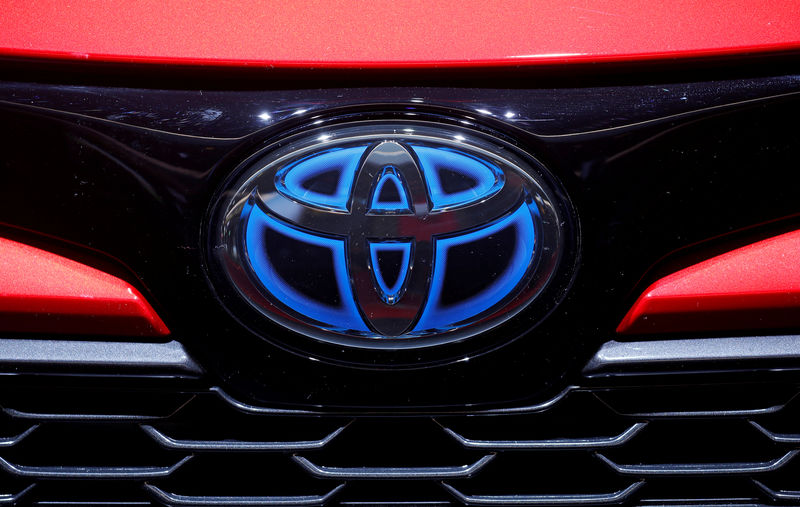 © Reuters. FILE PHOTO: The logo of Toyota is seen during the first press day of the Paris auto show