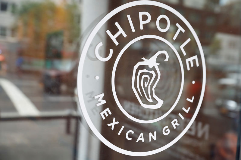 © Reuters. FILE PHOTO: The logo of Chipotle Mexican Grill is seen at the Chipotle Next Kitchen in Manhattan