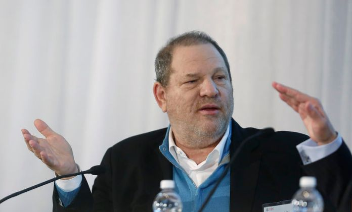 © Reuters. FILE PHOTO: Harvey Weinstein, Co-Chairman of The Weinstein Company, speaks at the UBS 40th Annual Global Media and Communications Conference in New York