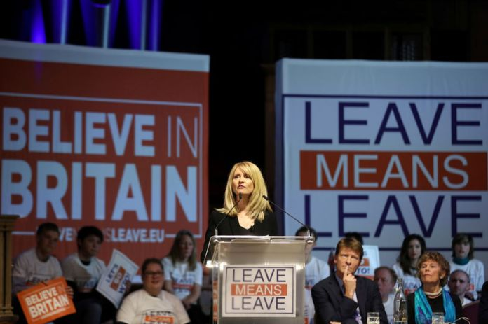 © -. Britain's former Secretary of State for Work and Pensions Esther McVey speaks during a