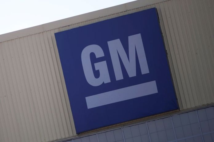 © -. Logo of General Motors is pictured at its plant in Silao