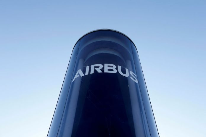 © -. FILE PHOTO: The Airbus logo is pictured at Airbus headquarters in Blagnac near Toulouse