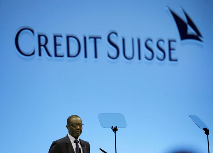 © -. FILE PHOTO: CEO Thiam of Swiss bank Credit Suisse addresses the company's annual shareholder meeting in Zurich