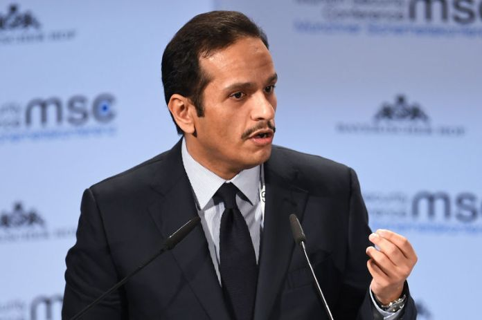 © -. FILE PHOTO: Qatar's Foreign Minister Sheikh Mohammed bin Abdulrahman Al-Thani speaks during the annual Munich Security Conference in Munich,