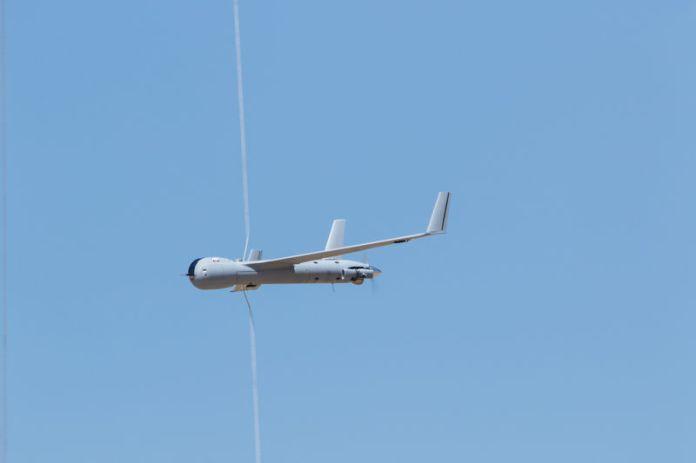 © -. Handout photo of a ScanEagle drone during a Insitu customer event in Mazagon