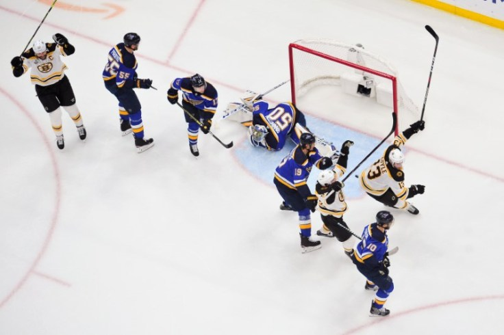 Image result for nhl blues bruins empty net