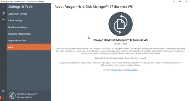 Paragon Hard Disk Manager 17 Business WS 17.16.12