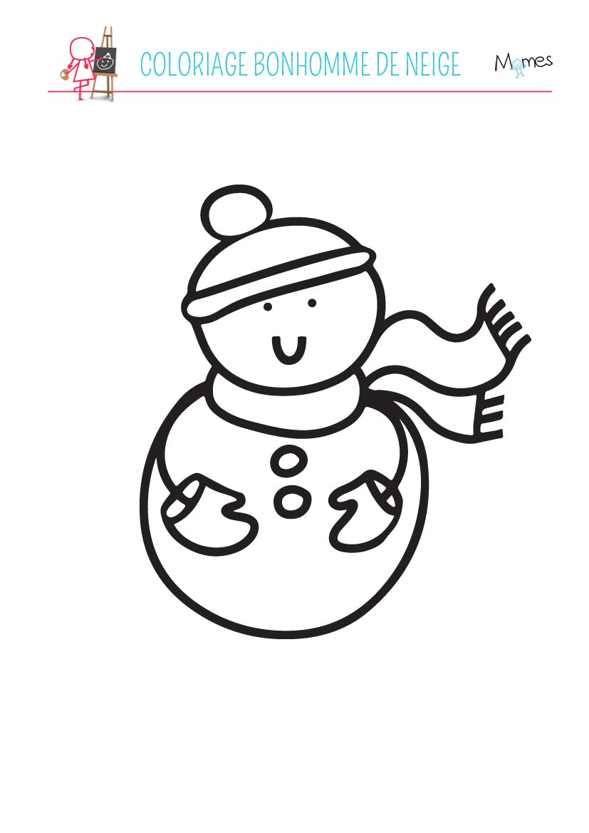 Dessin D'un Bonhomme De Neige : dessin, bonhomme, neige, Coloriage, Bonhomme, Neige, MOMES.net