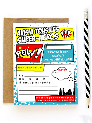invitation anniversaire super heros