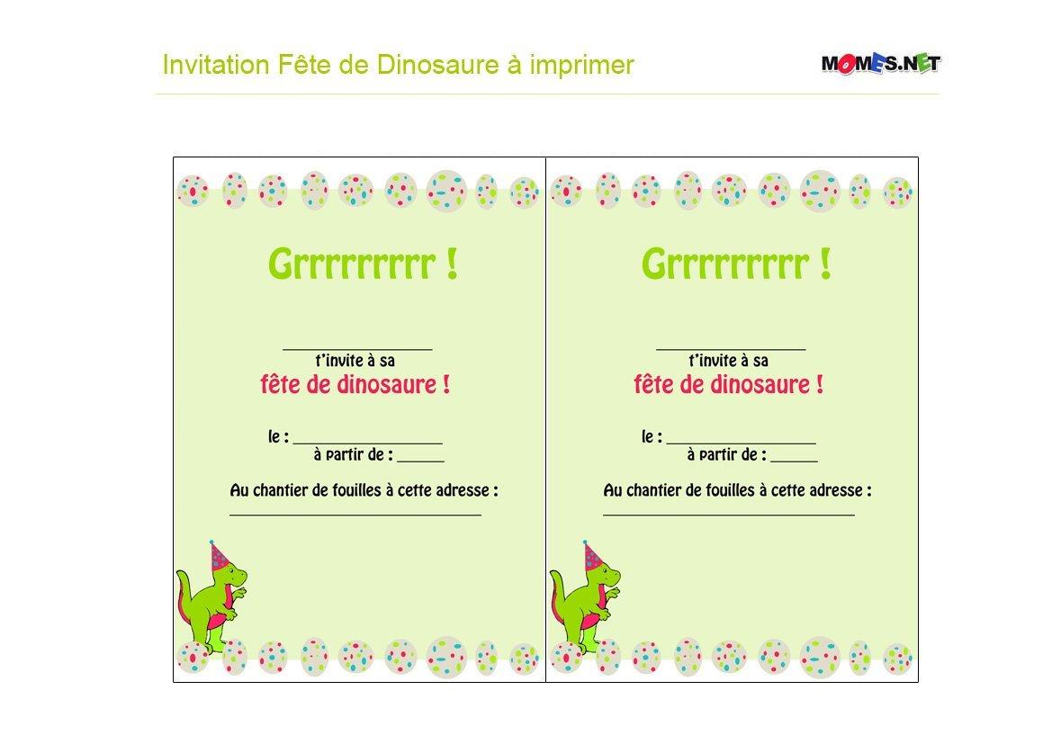 invitation dinosaure a imprimer momes net