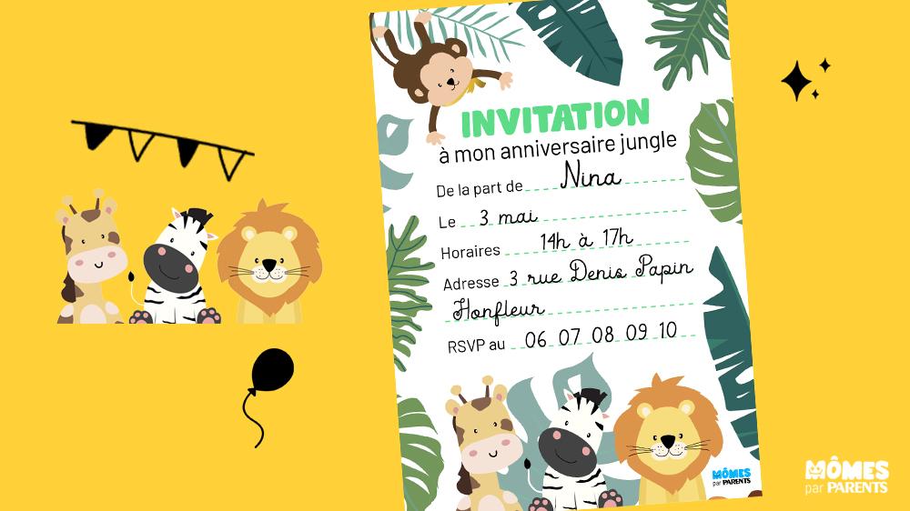 carte d anniversaire animaux jungle