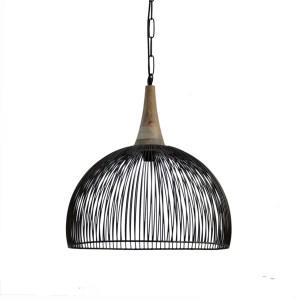 hanglamp open zwart metaal met hout acdent lange ketting
