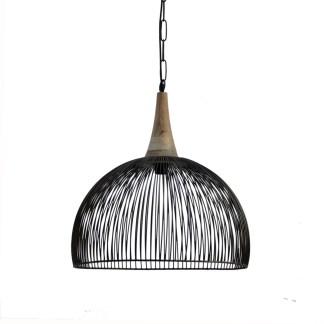 Hanglamp L zwart metaal met hout 50X50X30