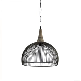 Hanglamp open zwart metaal met hout accent te koop bij winkel Indistrieel in Middelburg