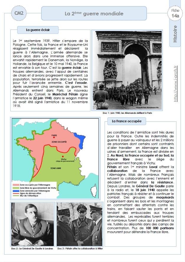 Seconde Guerre Mondiale Cycle 3 : seconde, guerre, mondiale, cycle, HISTOIRE-, 1939-1945, 2ème, Guerre, Mondiale, Trace, écrite