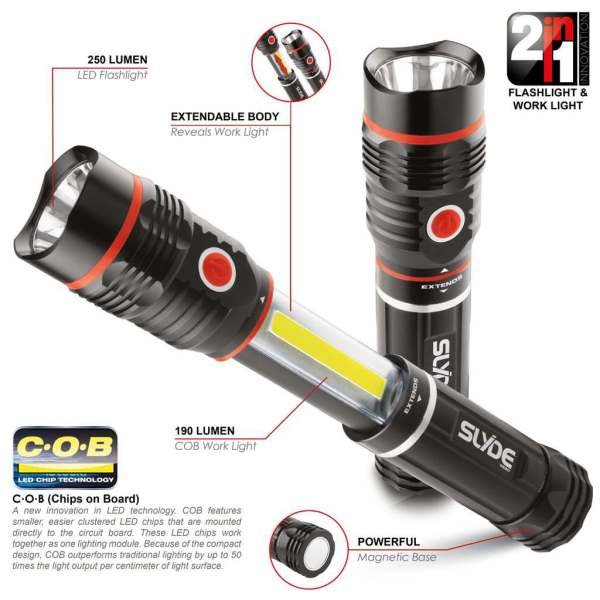 NEBO SLYDE Flash & Work Light 2-in-1 250lm/190lm