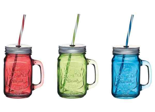 Coloured Glass Jar Straw Home Made KitchenCraft
