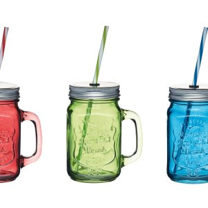 Coloured Glass Jar Straw Home Made KitchenCraft