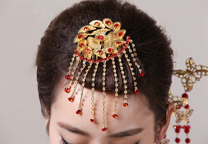 Buy Wholesale Simple Bride Flower Tassel Phoenix Coronet