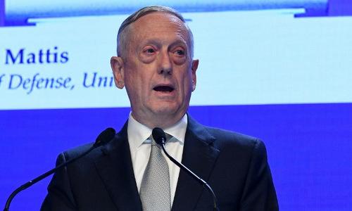 Bộ trưởng Quốc phòng Mỹ phát biểu tại Đối thoại Shangri-La hôm 2/6. Ảnh: AFP.