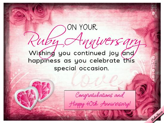 Ruby Anniversary Wishes Free Milestones ECards Greeting