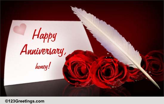Happy Wedding Anniversary Honey Free For Him ECards Greeting Cards 123 Greetings
