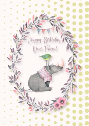Happy Birthday Friend Hippo And Bird Free For Best Friends ECards 123 Greetings