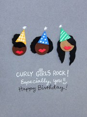 curly girls rock birthday card