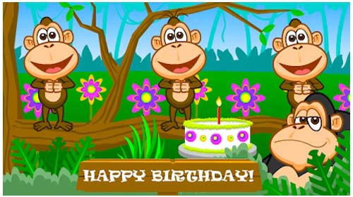 Funky Birthday Monkeys Free Happy Birthday ECards