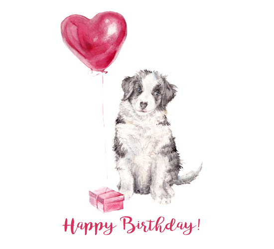Happy Birthday Balloon Pup Free Pets ECards Greeting