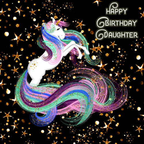 Daughter Birthday Sparkling Unicorn Free For Son