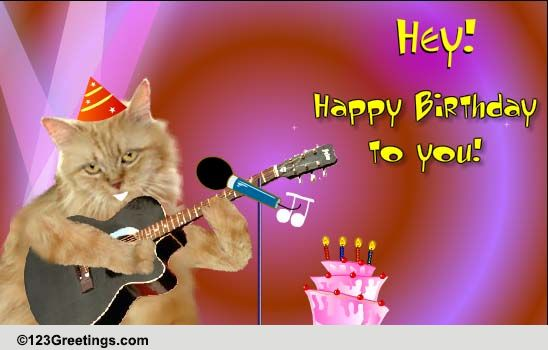 Singing Birthday Cat! Free Songs ECards Greeting Cards