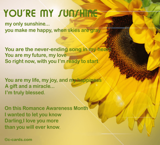 You Are My Sunshine Free Romance Awareness Month ECards