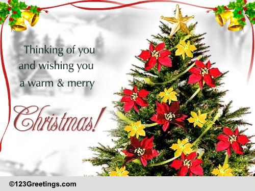 A Warm And Merry Christmas Free Flowers ECards Greeting