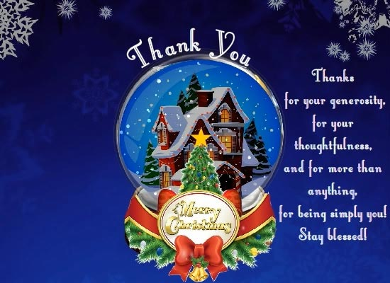 Thank Message With A Snow Globe Free Thank You ECards