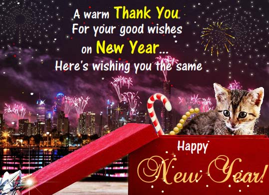 Thank You For Your New Year Wishes Free Thank You ECards 123 Greetings