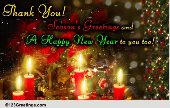 Seasons Greetings And Thank You Free Thank You ECards Greeting Cards 123 Greetings