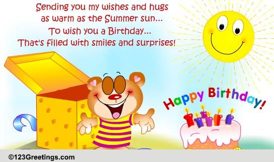 Summer Birthday Wishes And Hugs Free Birthday ECards Greeting Cards 123 Greetings