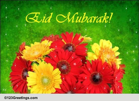 Eid Mubarak Wishes With Flowers Free Flowers ECards