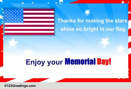Enjoy Your Memorial Day Free Thank You ECards Greeting Cards 123 Greetings