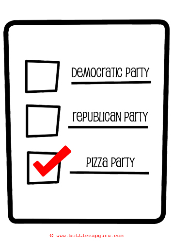 Funny Political Pizza Party Card. Free Pizza Party Day