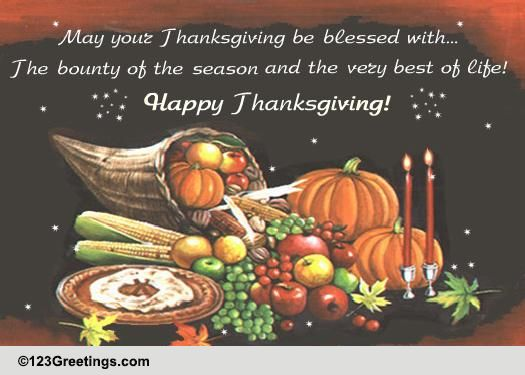 Happy Thanksgiving Wishes Free Dinner ECards Greeting Cards 123 Greetings