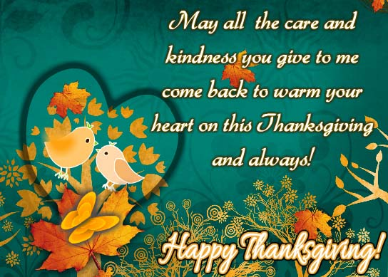 Sending Thanks To Warm Your Heart Free Happy Thanksgiving ECards 123 Greetings