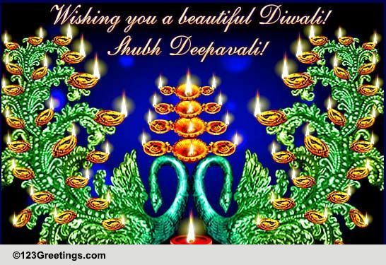 Beautiful Peacock Diwali Diyas! Free Diyas ECards