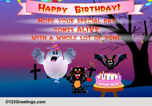 Have Fun On Your Halloween Birthday Free Specials ECards 123 Greetings