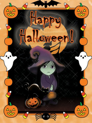 Cute Witch And Cat Halloween Free Witches eCards